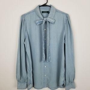 Lauren Ralph Lauren Tie Neck Chambray Shirt